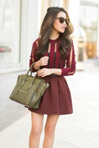 dress burgundy sweater burgundy dress red dress see through dress burgundy