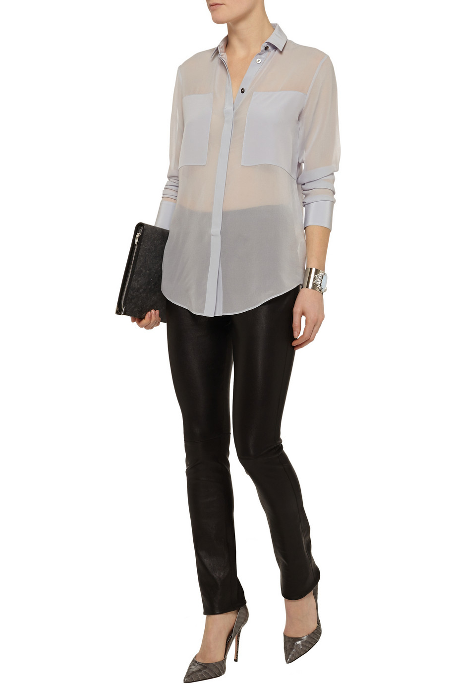 T by Alexander Wang Paneled silk-chiffon shirt – 55% at THE OUTNET.COM
