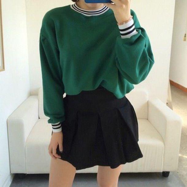 Sweater green aesthetic green aesthetic cuffed sleeves sweatshirt green sweater green ...