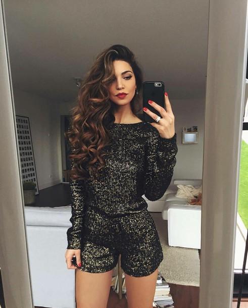 dress clothes new year's eve elegant chic glitter negin mirsalehi romper jumpsuit