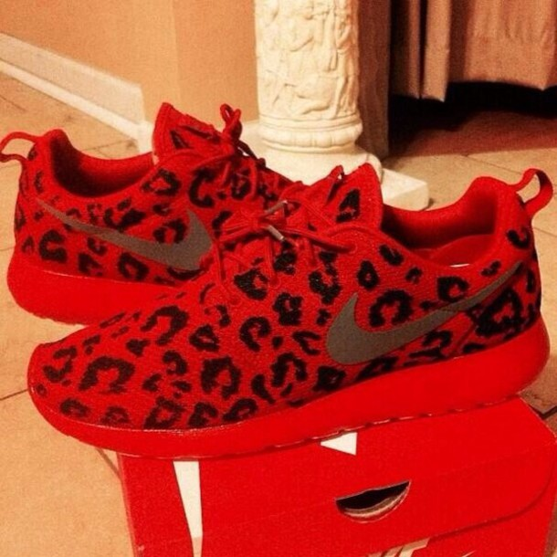 a25687bfccdb8 shoes nike nike roshe run nike roshe run red leopard print