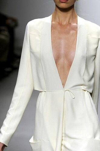dress calvin klein dress calvin klein white dress long sleeve dress v neck dress plunge v neck