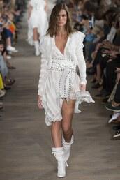 dress,philosophy di lorenzo serafini,white,white dress,milan fashion week 2016,belt,asymmetrical,plunge v neck
