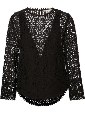 blouse layered lace black top