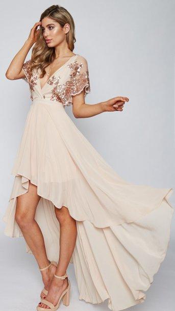 dress, high low dress, beige, beige dress, cream dress, sequin dress ...