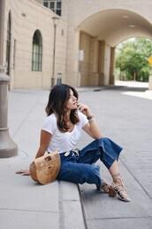 chictalk,blogger,bag,top,shoes,cult gaia bag,sandals,white t-shirt,summer outfits