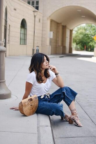 chictalk blogger bag top shoes cult gaia bag sandals white t-shirt summer outfits