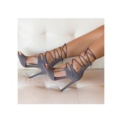 shoes,peep toe heels,grey,suede,fashion,style,trendy,lace up,fsjshoes