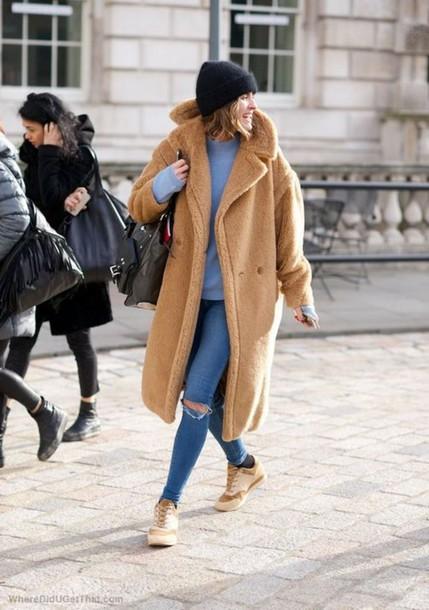 33adef8c687 Coat tumblr fuzzy coat fluffy oversized camel coat sweater blue sweater  jeans blue jeans denim jpg
