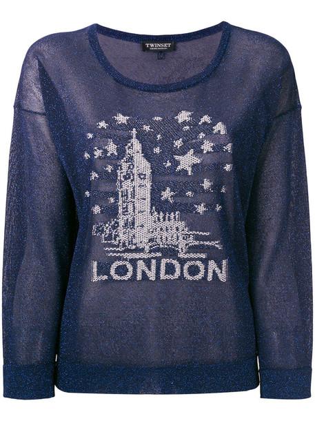 Twin-Set sweater embroidered metallic women london blue