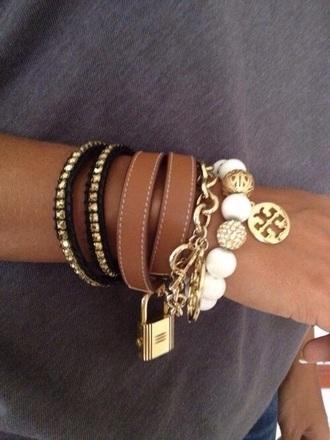 jewels bracelets white gold pearl tori burch