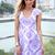 Purple Party Dress - Purple Foil Print Cap Sleeve | UsTrendy