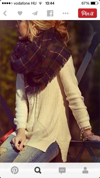 blanket scarf tartan scarf knitted sweater