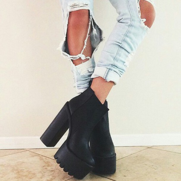 Jeans tumblr ripped jeans boyfriend jeans boots black boots heel boots black shoes ...
