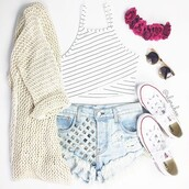 top,crop tops,cute top,striped top,cardigan,hair accessory,shorts,sunglasses