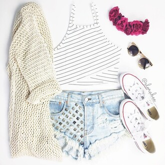 top crop tops cute top striped top cardigan hair accessory shorts sunglasses