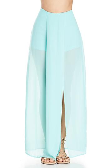 DailyLook: Long Sheer Skirt in Mint XS - L