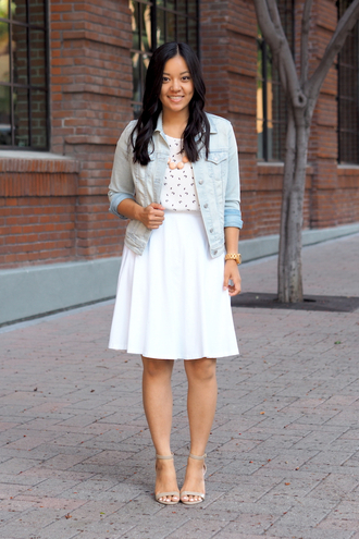 puttingmetogether blogger shoes jewels denim jacket white skirt polka dots statement necklace mini skirt nude nude heels nude sandals