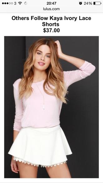top pink top shorts lace shorts