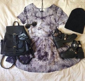 dress grunge grey purple skater dress platform shoes black backpack leather bag