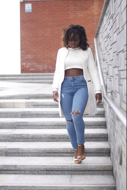 4878fc56e5aa shirt crop tops white crop tops jeans jacket denim coat pants black girls  killin it cropped