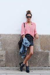 stella wants to die,skirt,shoes,sunglasses,striped shirt,stripes,red,red stripes,leather,leather skirt,boots,zara,fendi,summer outfits,bag,hipster,blouse,mini skirt,blogger,black boots,denim jacket,red striped shirt,shirt