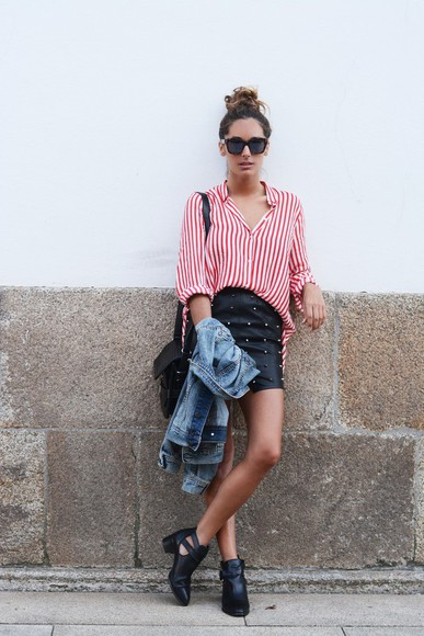 skirt blouse mini skirt shoes stripes bag hipster leather blogger leather skirt summer outfits stella wants to die sunglasses striped shirt red red stripes boots zara fendi black boots denim jacket red striped shirt