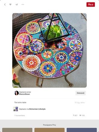 home accessory colorful boho table