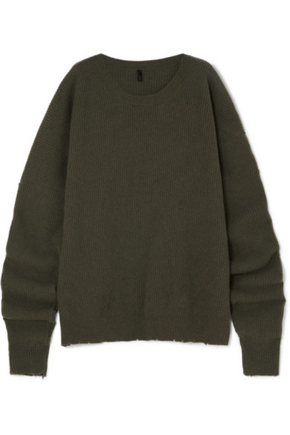 Unravel Project - Oversized Wool And Cashmere-blend Sweater - Army green