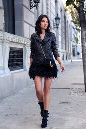 viva luxury,blogger,dress,leather jacket,feathers,studded jacket,jacket,bag,shoes,jewels,mini skirt and ankle boots