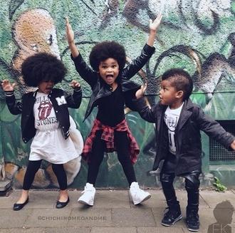 guys kids fashion flannel shirt leather pants afro girl jacket fashion fashion kids lifestyle