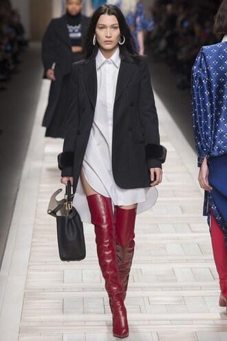 shirt shirt dress boots jacket runway model milan fashion week 2017 bella hadid white shirt fendi