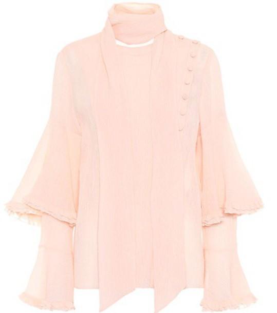Chloe top cotton silk pink