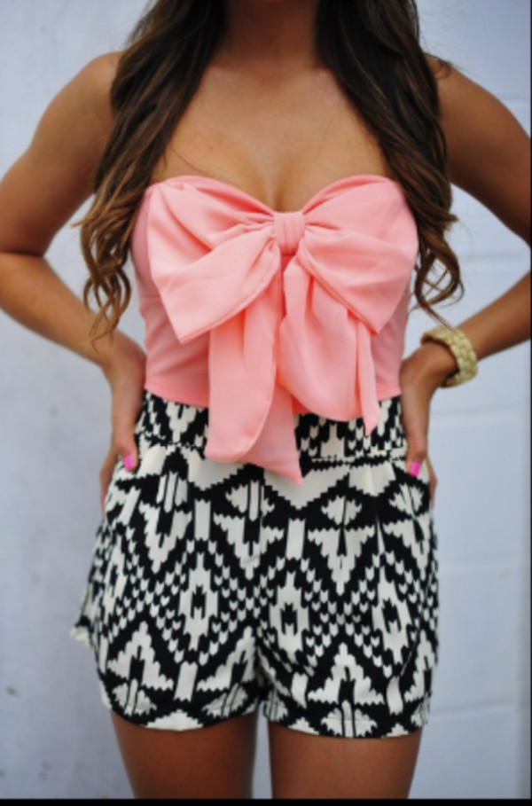 shirt bow t shirt pink skirt