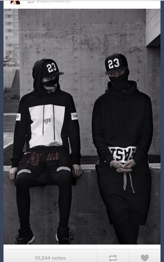 sweater hoodie streetwear tumblr outfit style urban black sweater urban menswear blvck menswear mens sportswear mens cap