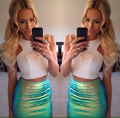 skirt,blue,green,yellow,girl,iridescent,holographic,blouse