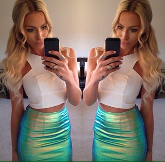 skirt blue green yellow girl iridescent holographic blouse