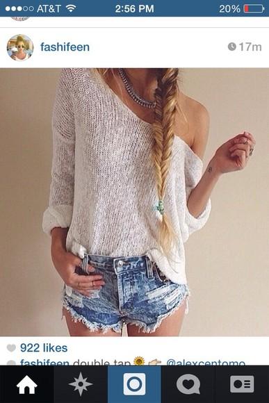 white shirt summer summer shirt fashion style shorts sweater