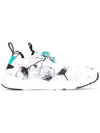 women sneakers floral white print shoes