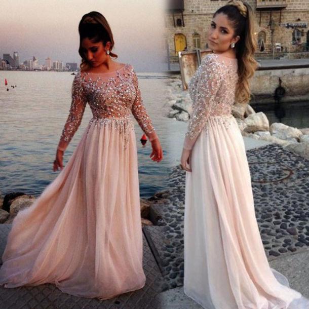 dress, see through prom dress, pink prom dress, chiffon prom ...