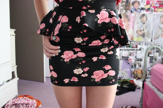 dress skirt flowers floral hot black elegant fashion girl pink peplum roses
