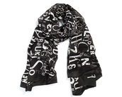 scarf,silk scarf,scarves scarves,luxury,letters,black and white