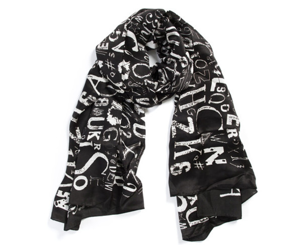scarf silk scarf scarves scarves luxury letters black and white