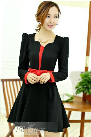 women casual necklace juwels long sleeve dress black coat jacket dress little black dress bow dress bows coat dress