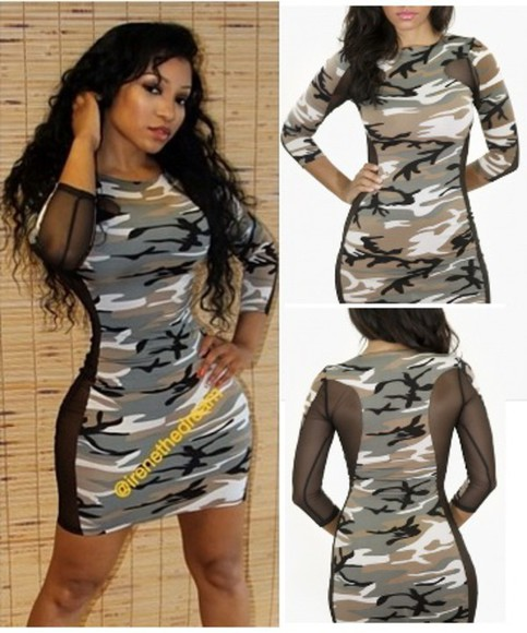 camouflage bodycon dress irene the dream