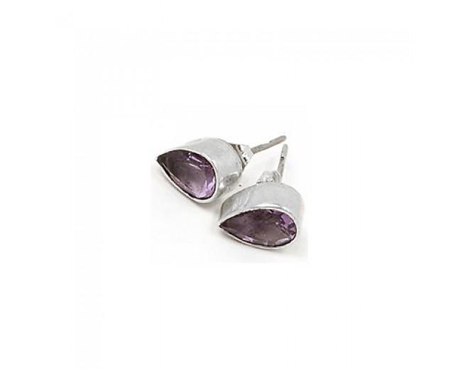 Beautiful 925 sterling silver Gemstone Faceted Amethyst Stud