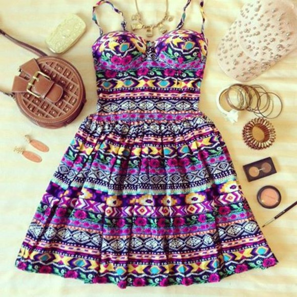 dress bustier dress colourful dress aztec girly