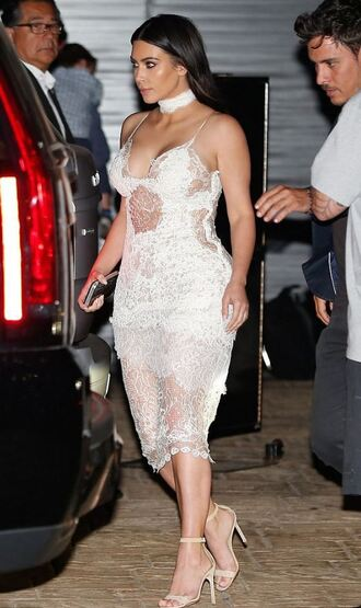 dress white white dress white lace dress sandals kim kardashian kardashians keeping up with the kardashians sexy dress see through dress choker necklace jewels kim kardashian style jewelry celebrity style celebrity celebstyle for less