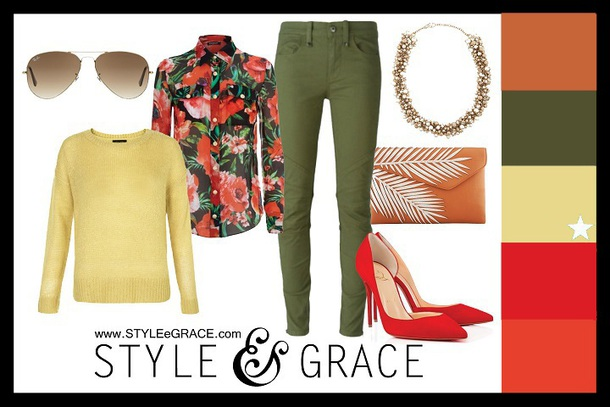 styleegrace blogger sunglasses top sweater pants jewels bag shoes yellow sweater green pants red heels high heel pumps clutch