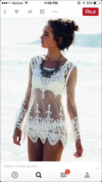 swimwear lace beach white top fashion summer vacation resort tan see through